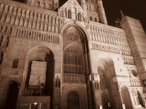 The front of Lincoln Cathedral at night