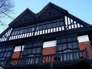 A view of the tudor style roof on the Ossington Lodge