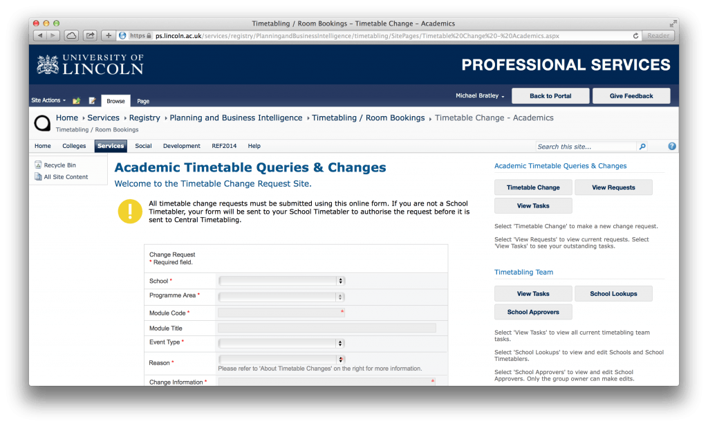 The timetable change request Professional Services page.