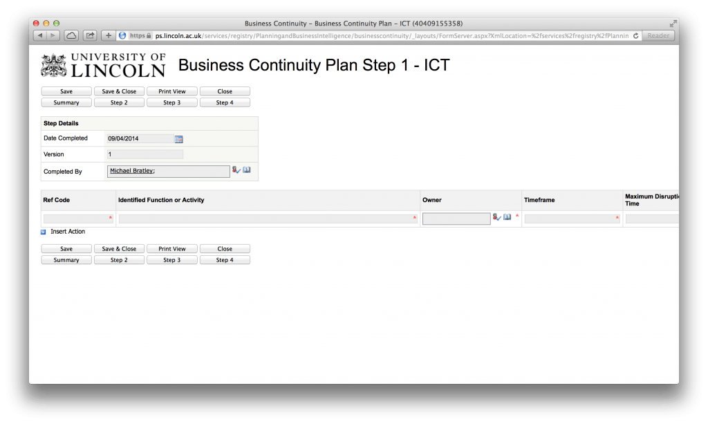 Business Continuity Form