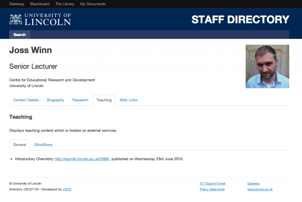 Staff profile with RSS import