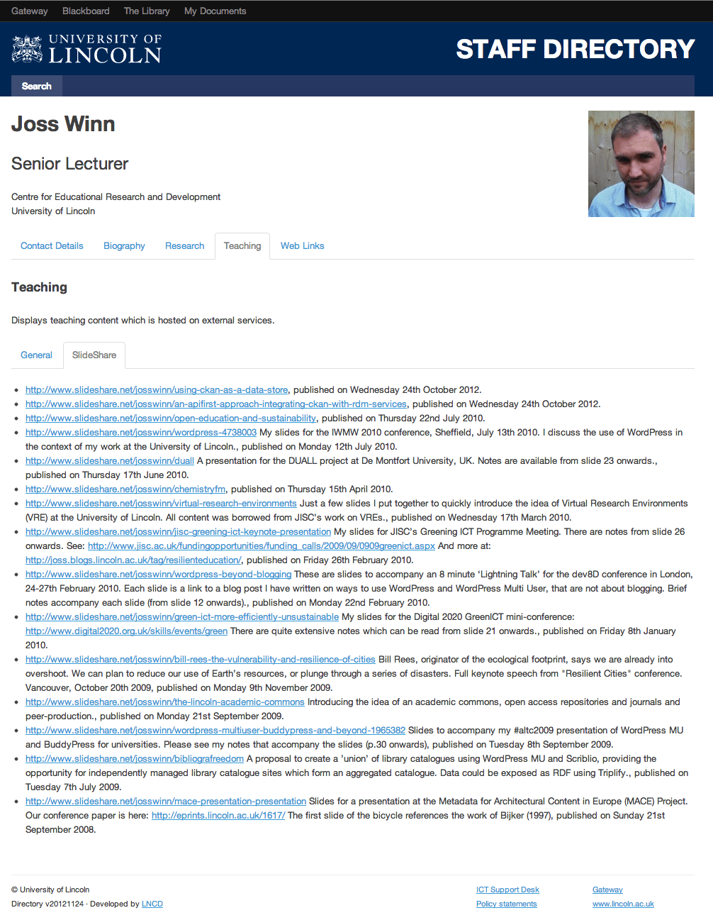 Staff profile, showing Slideshare resources