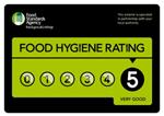 5/5 food hygiene rating sign.