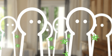 Screenshot of a video with outline figures showing how a virus transmits
