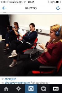 Jamee, Jess and Lauren Rehearsing verbatim.