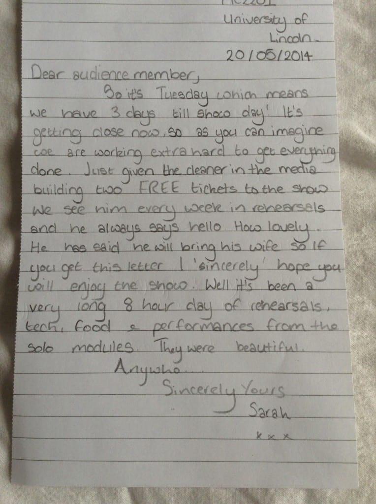 Cox, E (2014) Personal Letter