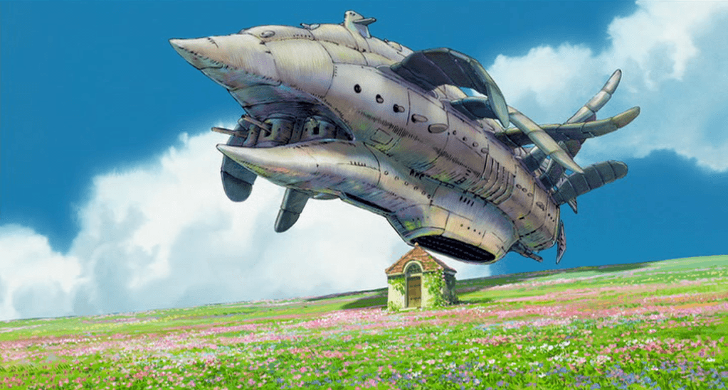One of the bombers featured in the movie. A human-built mechanism with obvious animal features, it looks menacing while at the same time suggesting a kind of childish amusement. Note the contrast between its threatening grey mass and the delicate treatment of the flowers below.