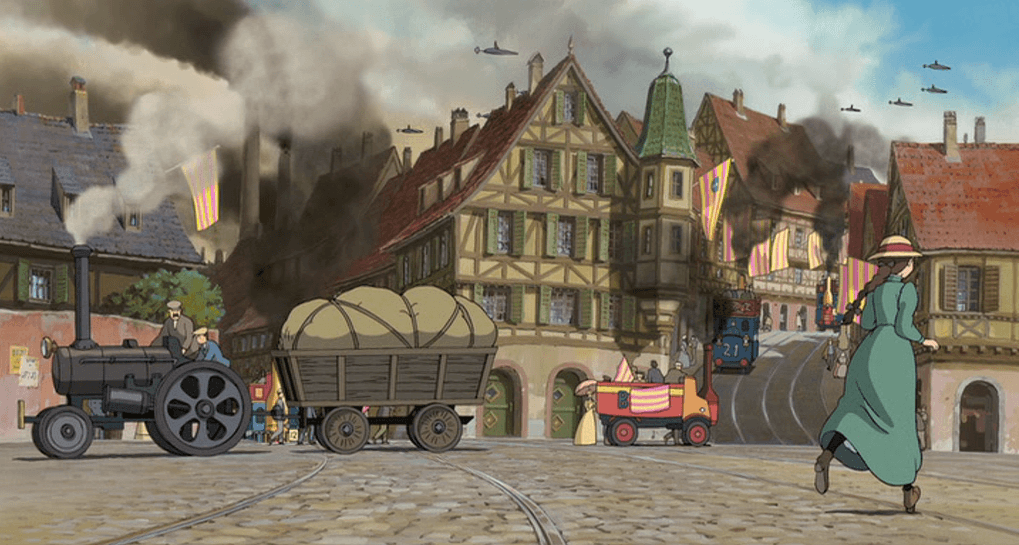 Heavy steam haulage, parasols, petticoats, and half-timbered buildings define the fictional universe in which the movie is set. Only aircraft seems to be incongruous.