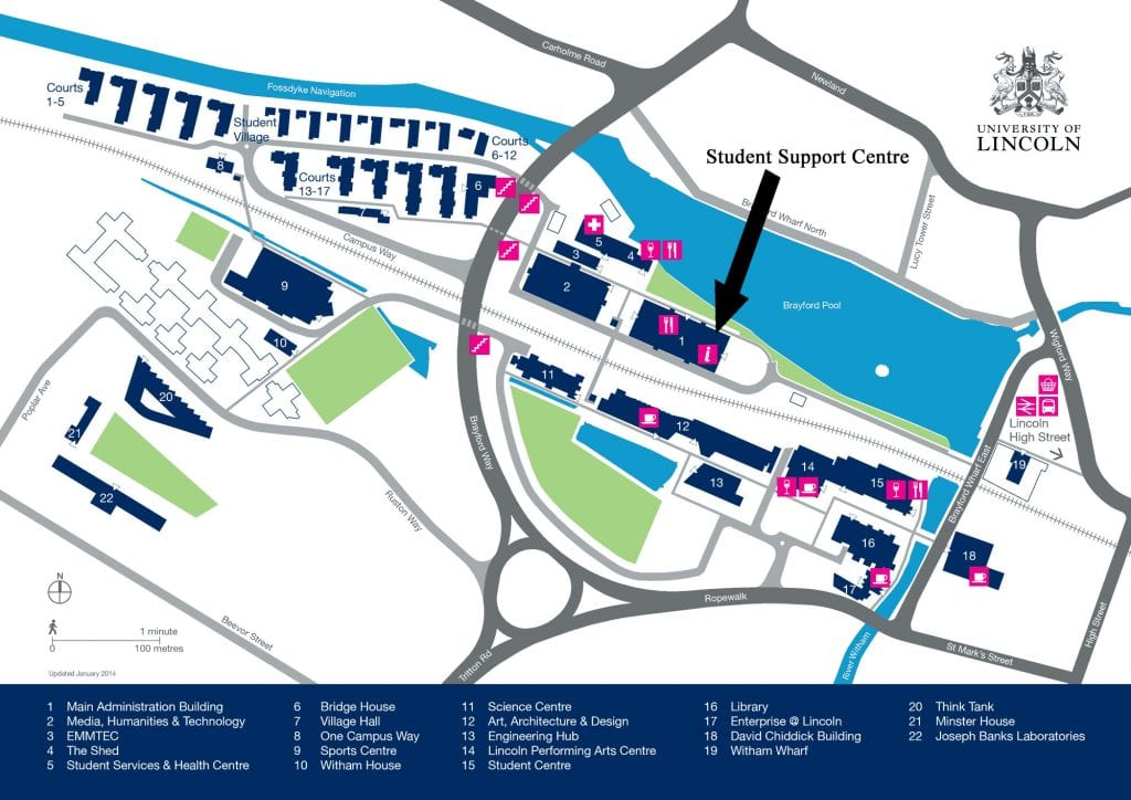University of Lincoln map with the Student Support Centre highlighted.