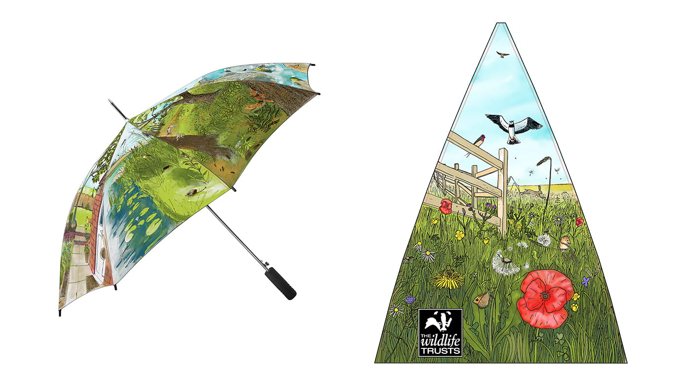 Year 3 | Promotional Campaign; Umbrella design. Drawn in pencil and pen, edited in Photoshop for colour.