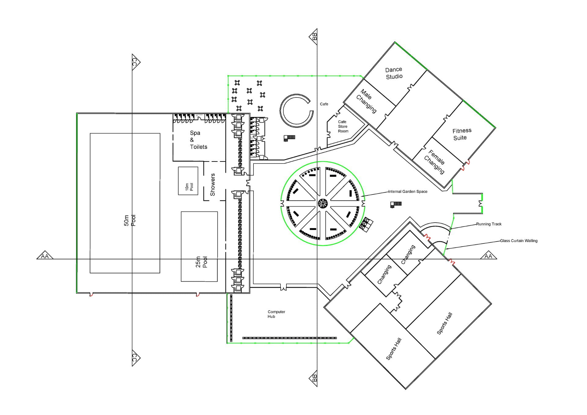Ground floor plan for the building