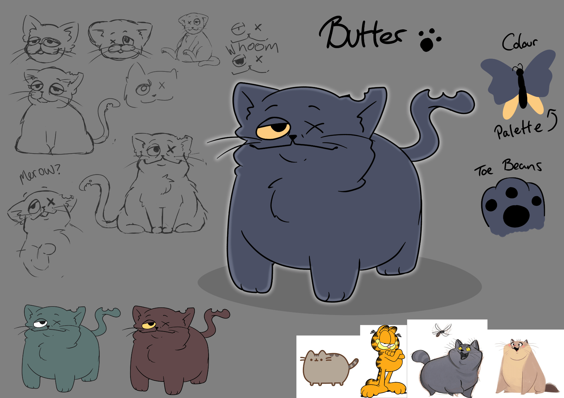 I really love Character design. I adore making a character and making come to life, but not just by making it move, but feel real. This little guy was my main character for my 2nd year animation - sketch of cat.