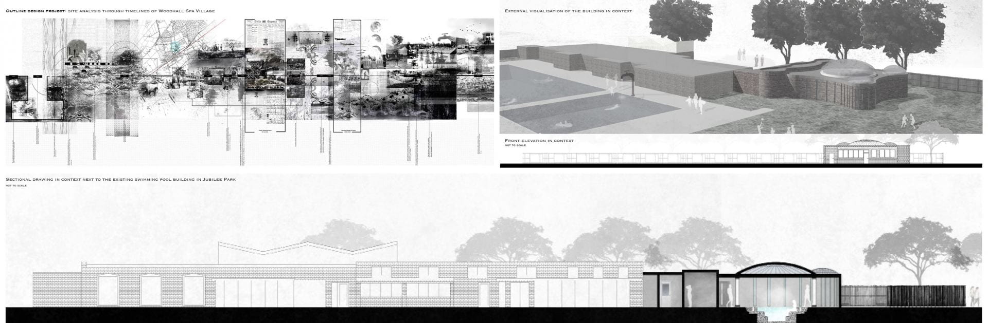 Initial designs for jubilee park showing its elevation