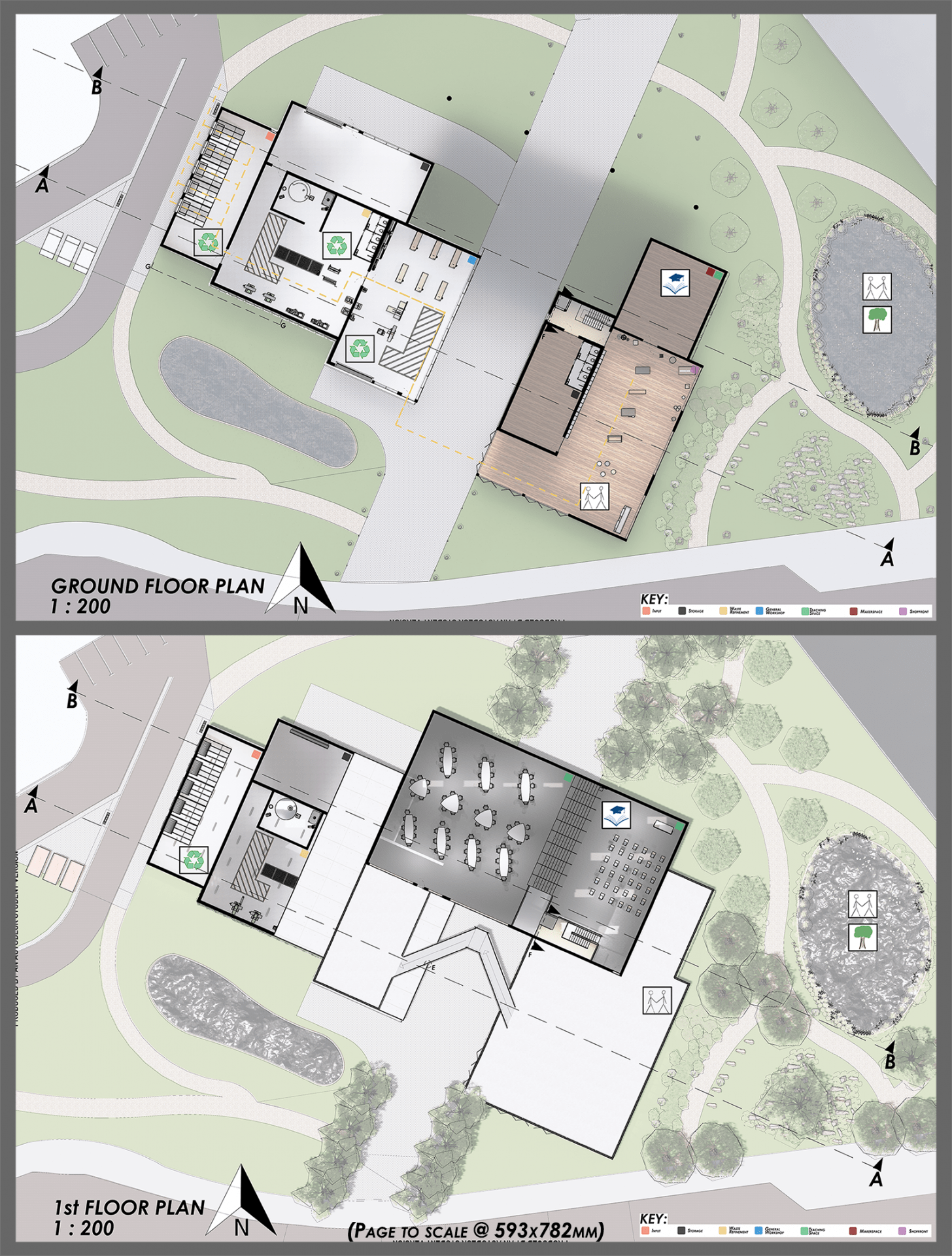 Graphic of the ground and 1st floor plans of the development.
