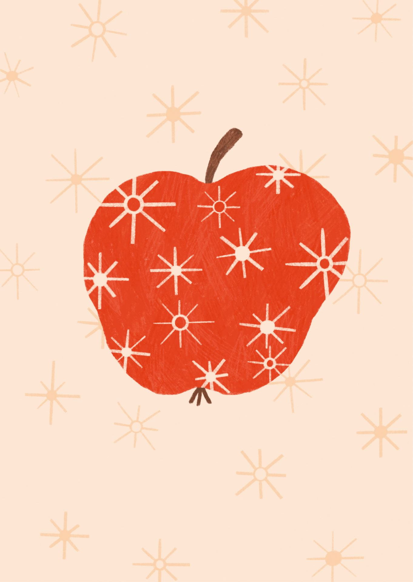 A minimalist illustration of an apple, with sparkling star designs on the foreground.