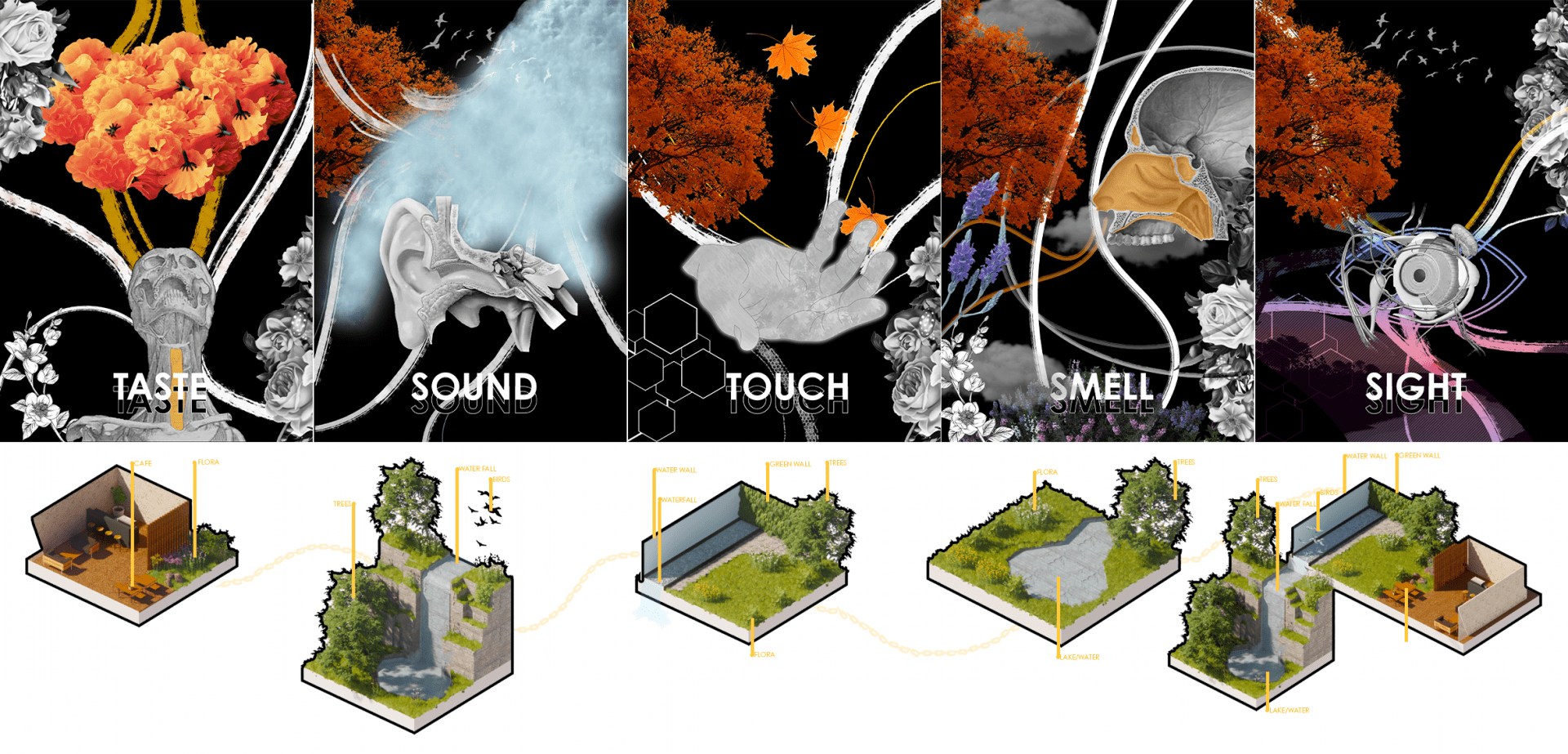 The 5 senses montaged and visualised demonstrating how to create a naturalesque climate.