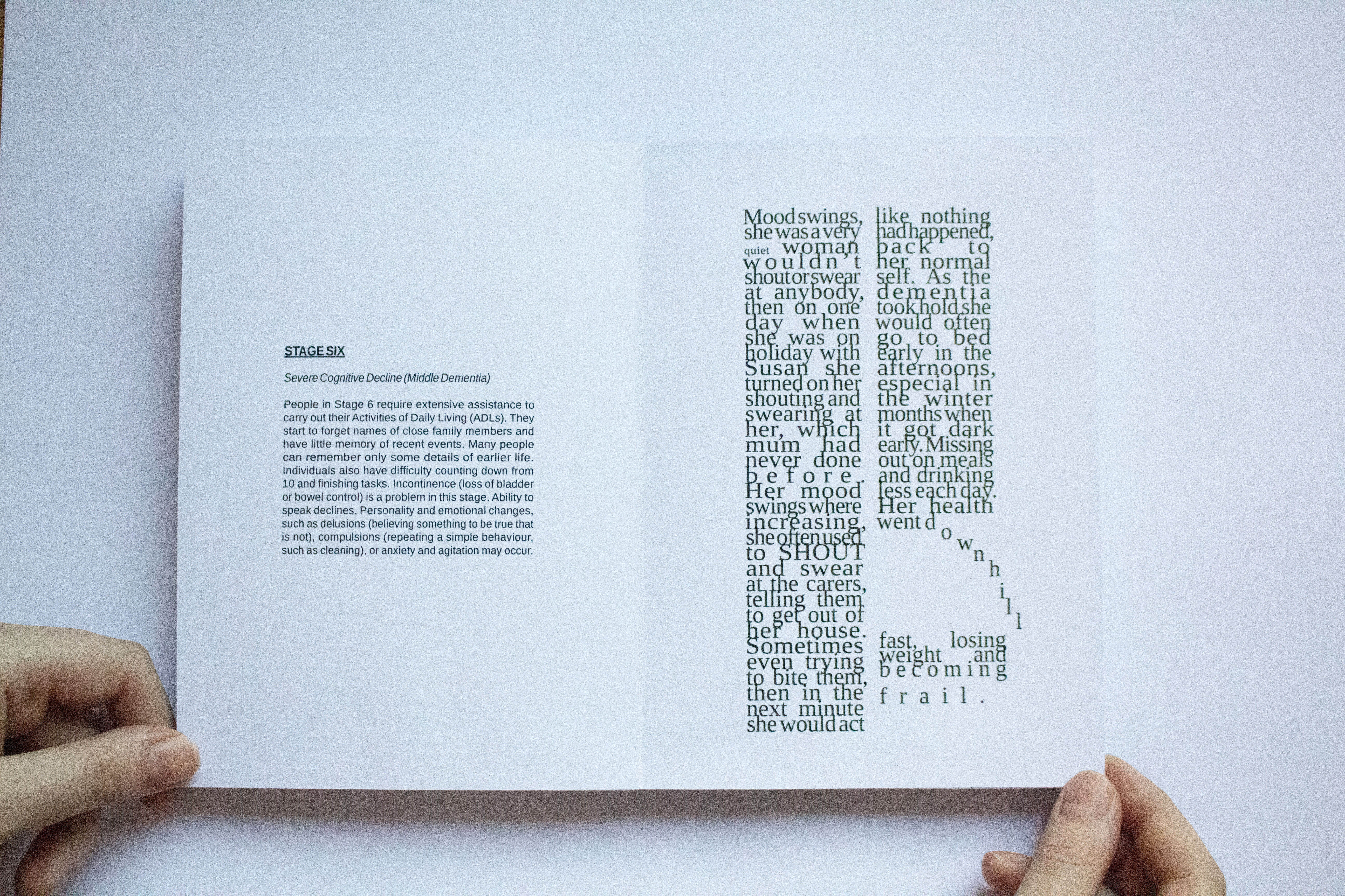 Inner page of book titled Stage 6 with small paragraph and a larger font on opposite page.