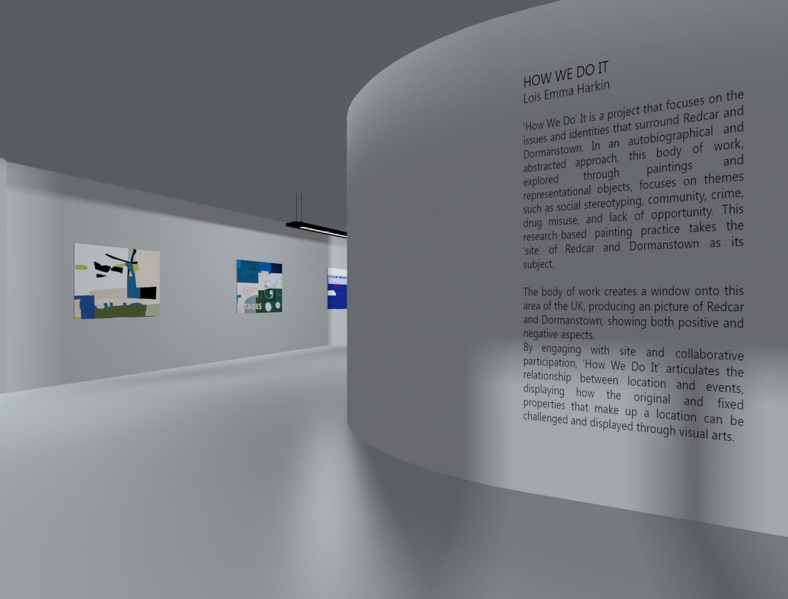 Conceptual representation of interior of gallery.