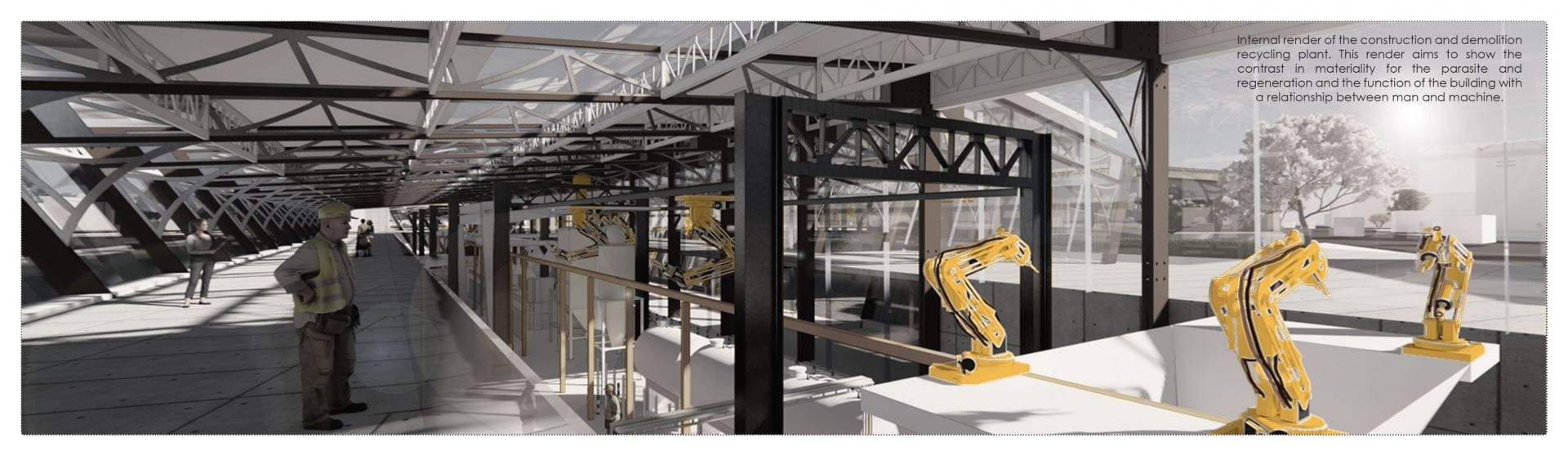 This internal render aims to develop a relationship between man and machine and how they can work together to redefine what happens with material waste.