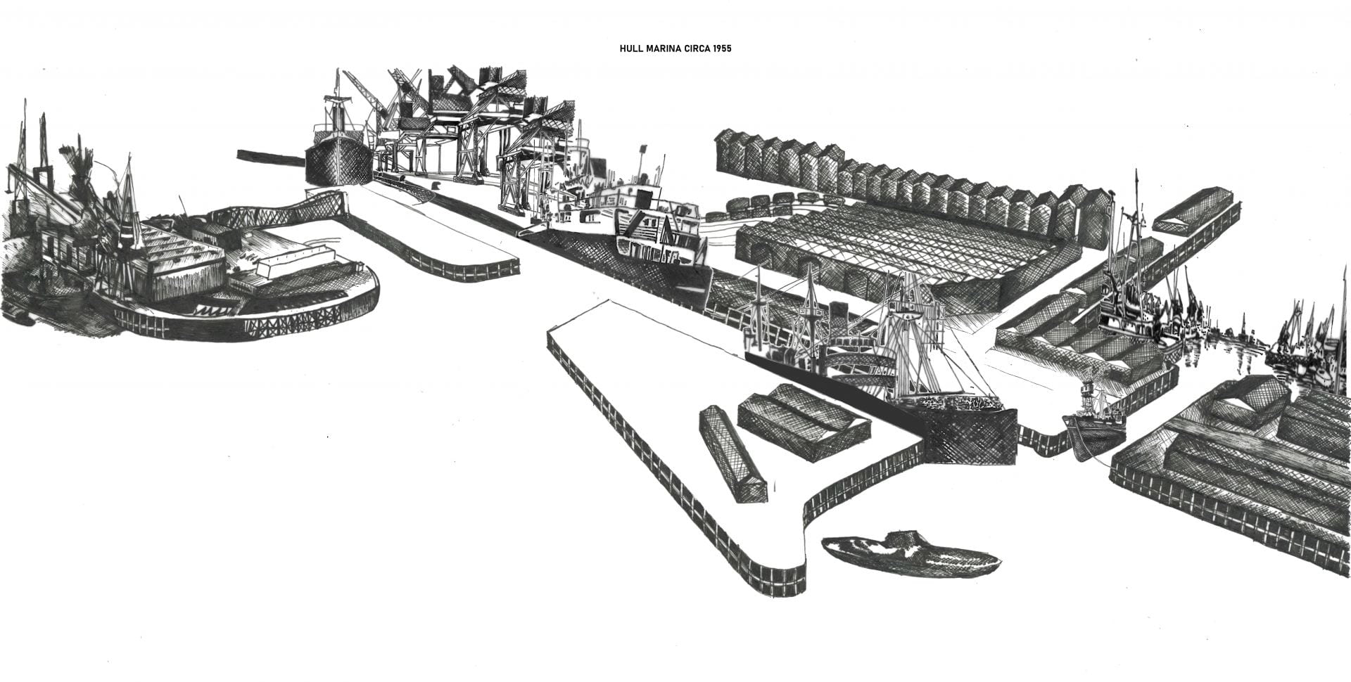 black and white drawing of the Hull Marina in the 1950's