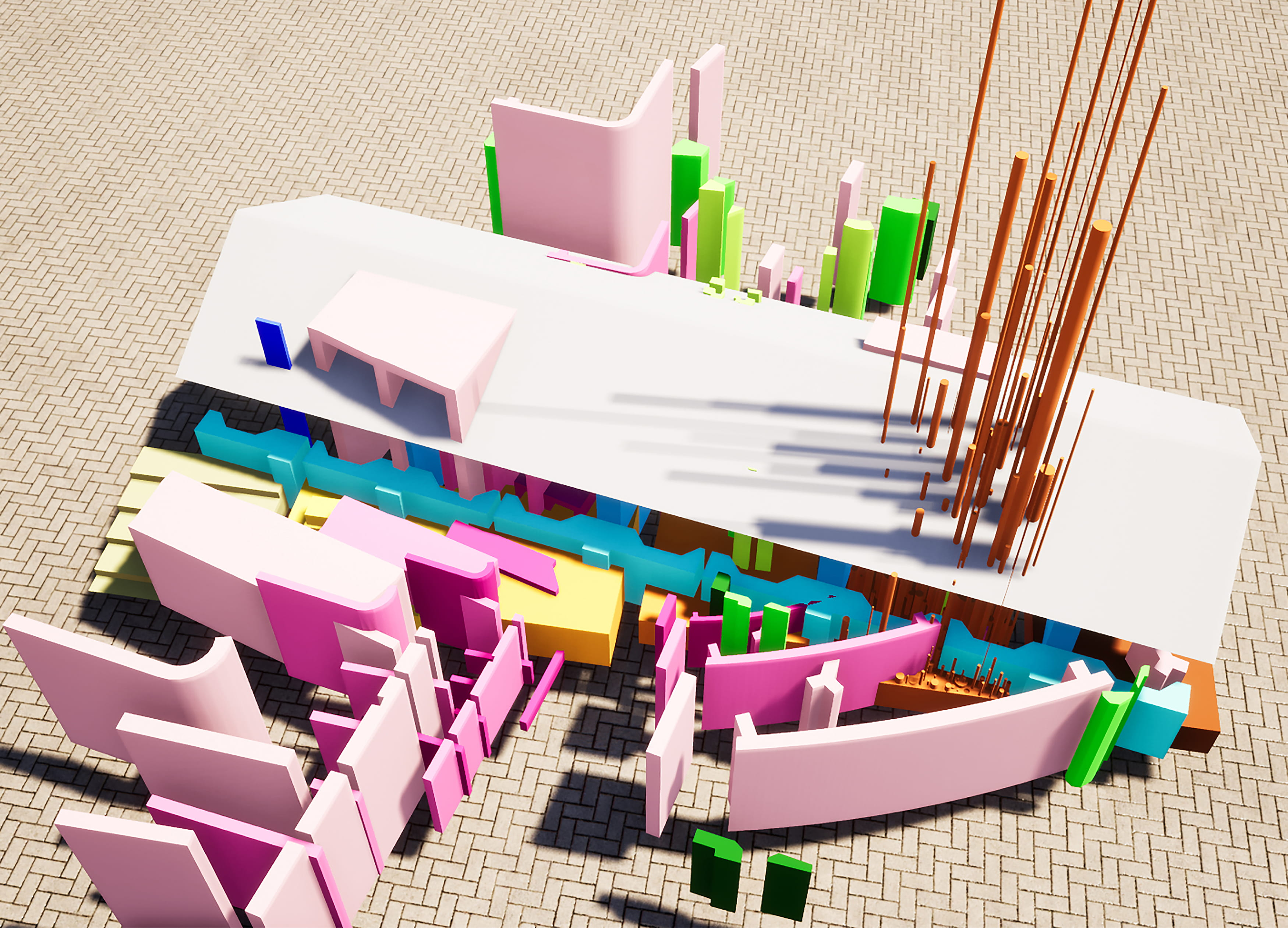 This model is an approach to the conceptual drawing, exploring 3-dimensional spatial qualities.
