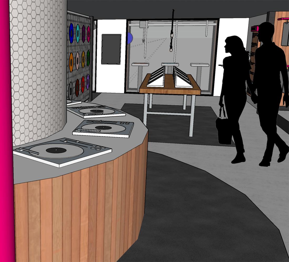 A 3D render of a new HMV store concept.