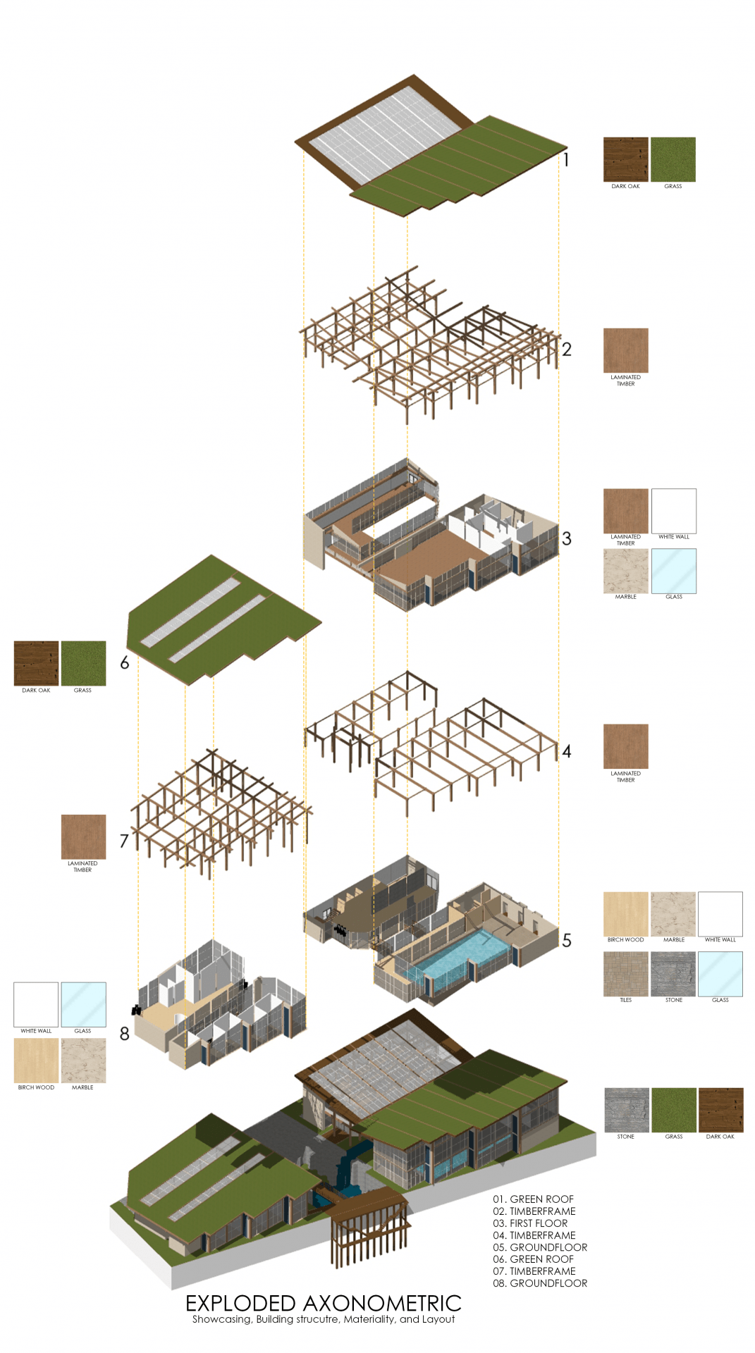 Exploded Axonometric of the design showcasing the structure, layout, and materiality.