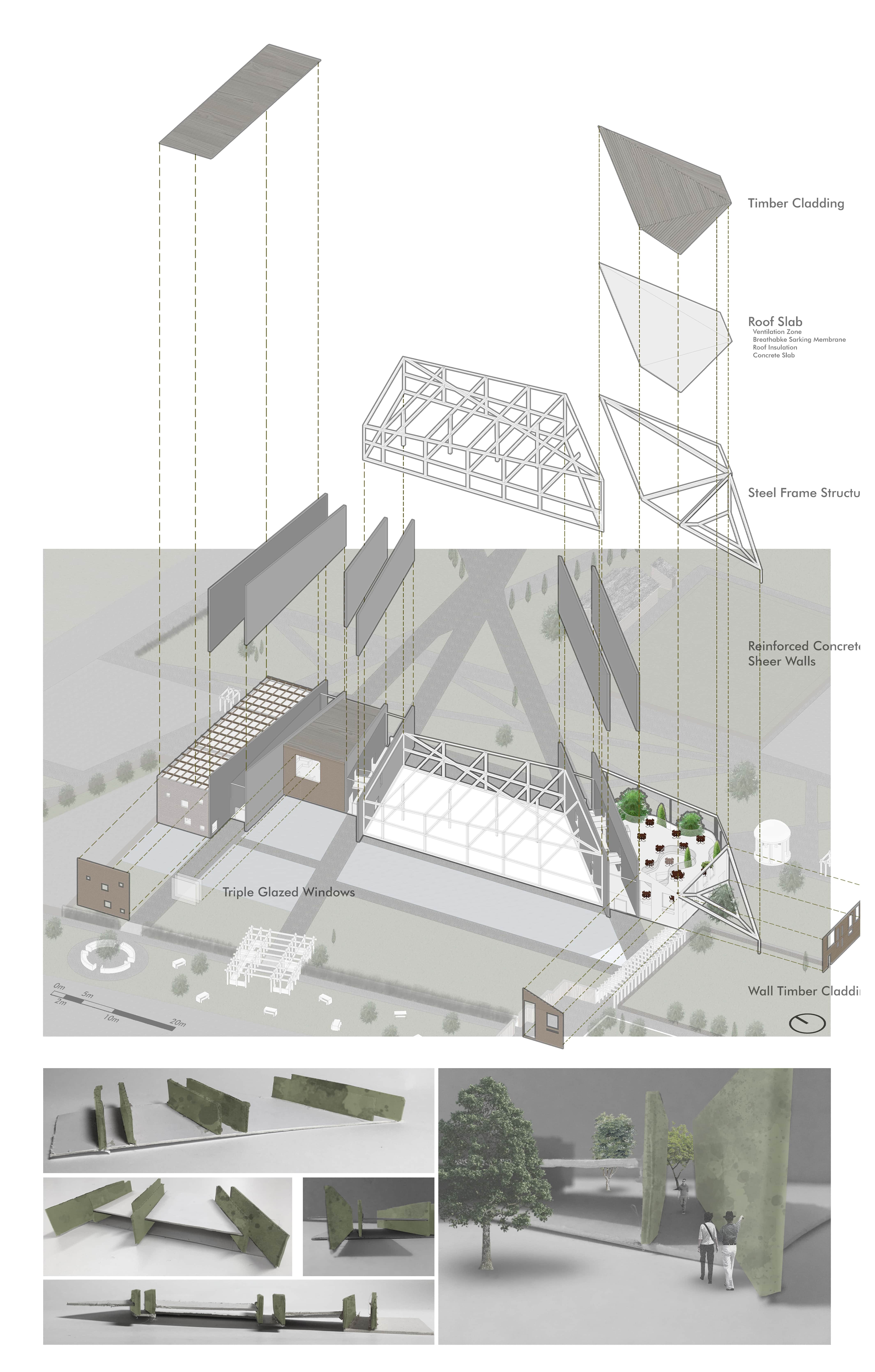 An illustration of a map alongside a digitally rendered version of the building; structurally, the building is composed of a steel frame in composite with reinforced concrete walls that divide the centre into different areas of functionality.