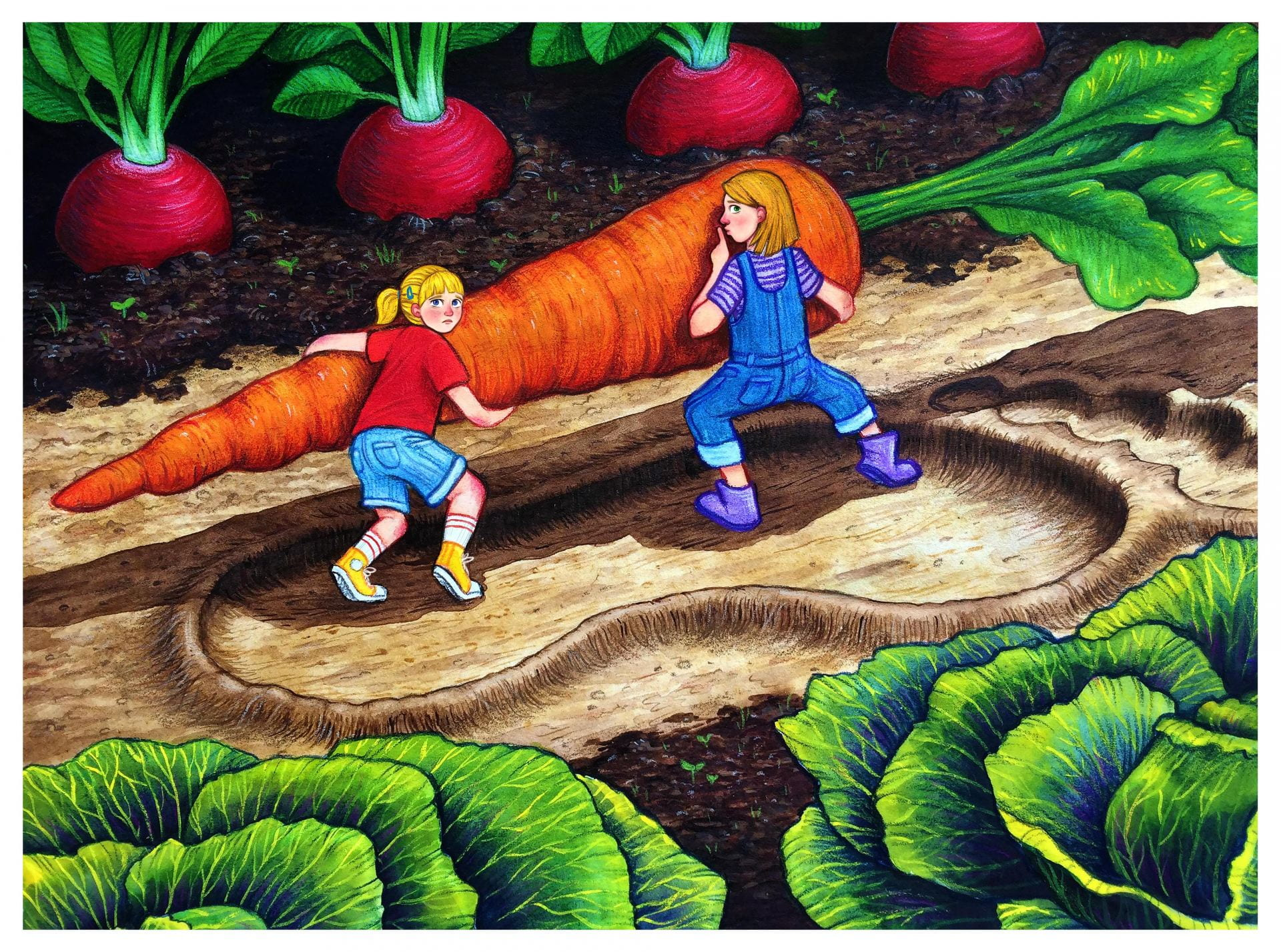 An illustration, two children, lifting a giant carrot within a garden of giant vegetables.