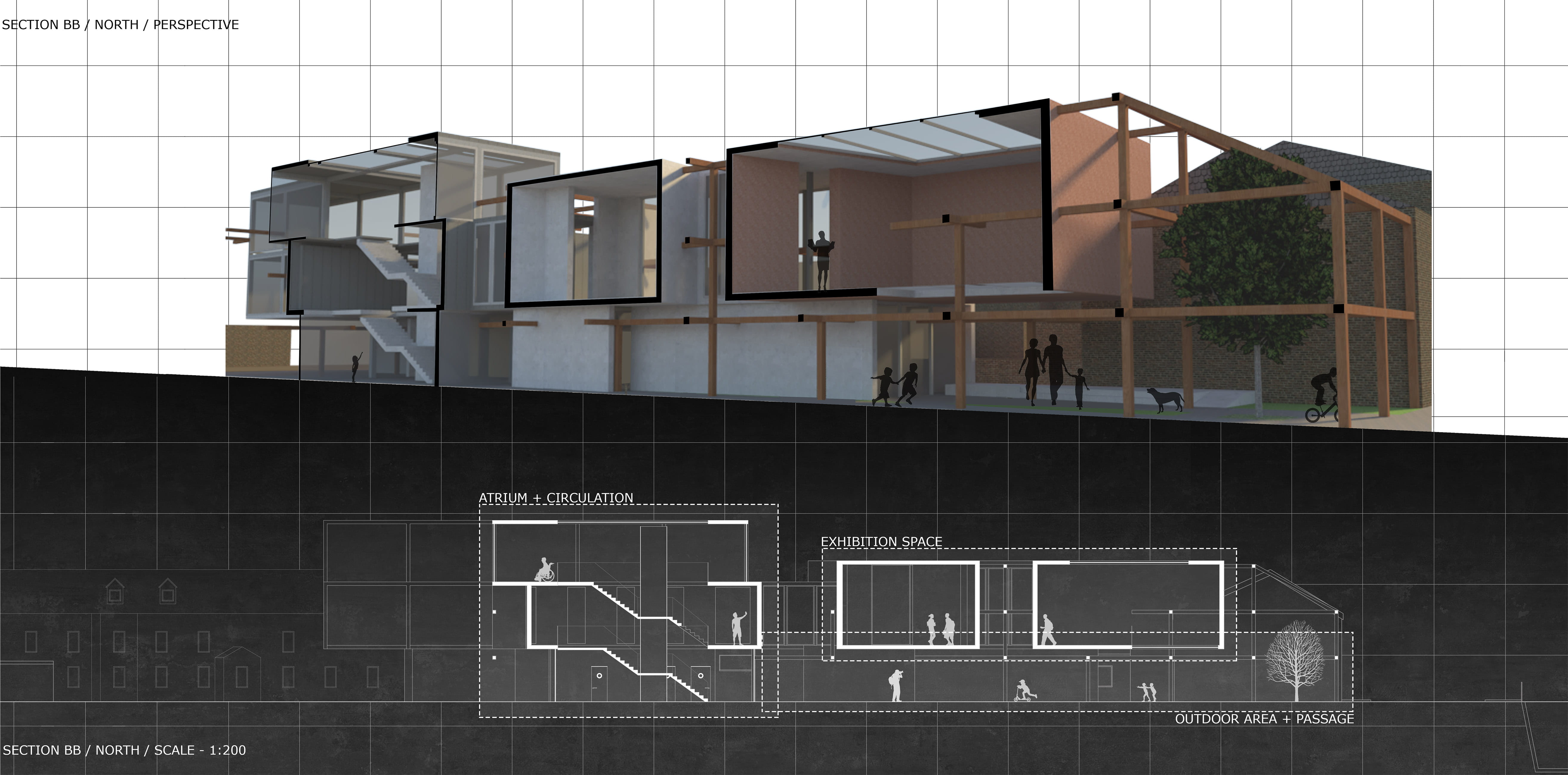 Perspective and 2D views of the same section cut, demonstrating natural light, spatial qualities and the buildings positive uses.
