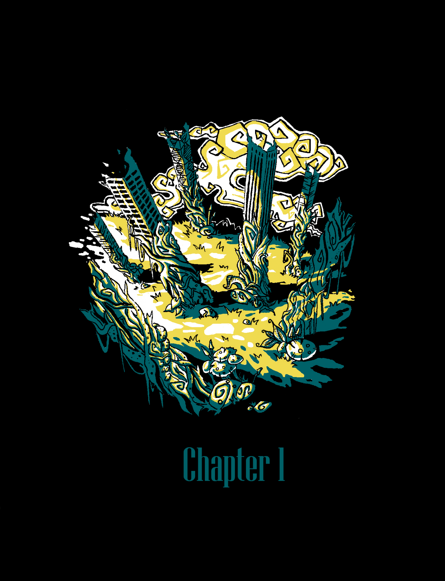 Illustration of plants growing up tall buildings with the caption 'Chapter 1'.