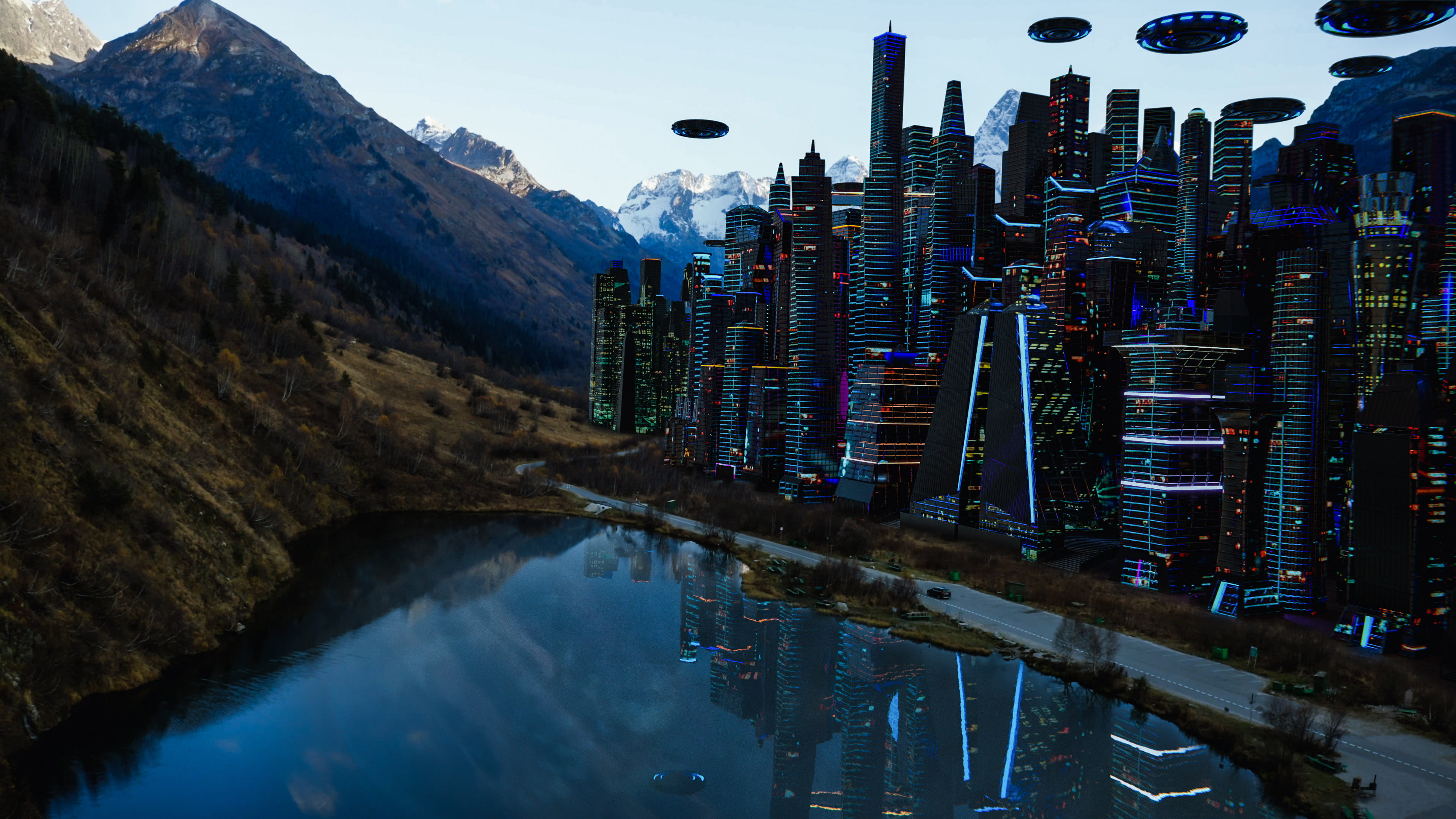 Image of a vast mountainous landscape fused with science-fiction inspired computer-generated imagery.
