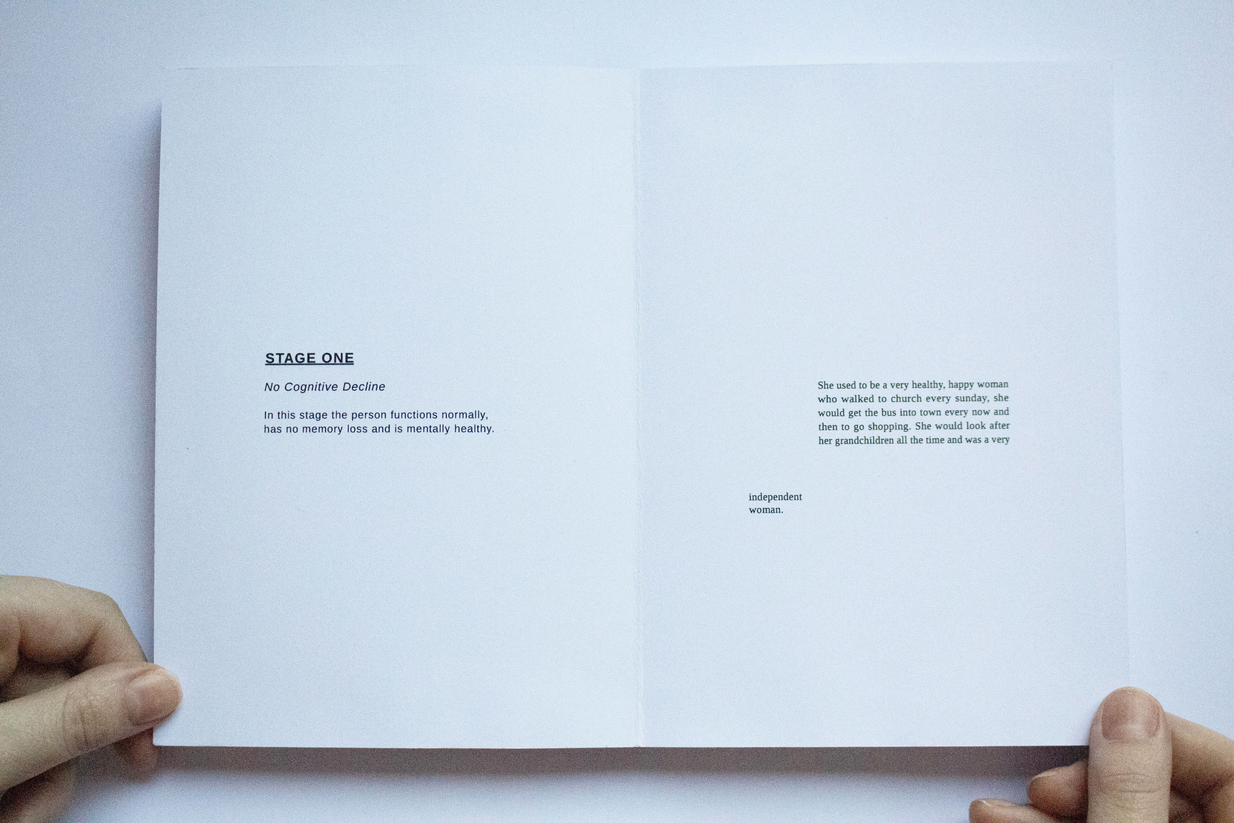Inner page of book titled Stage 1 with small paragraphs in the middle of the page.