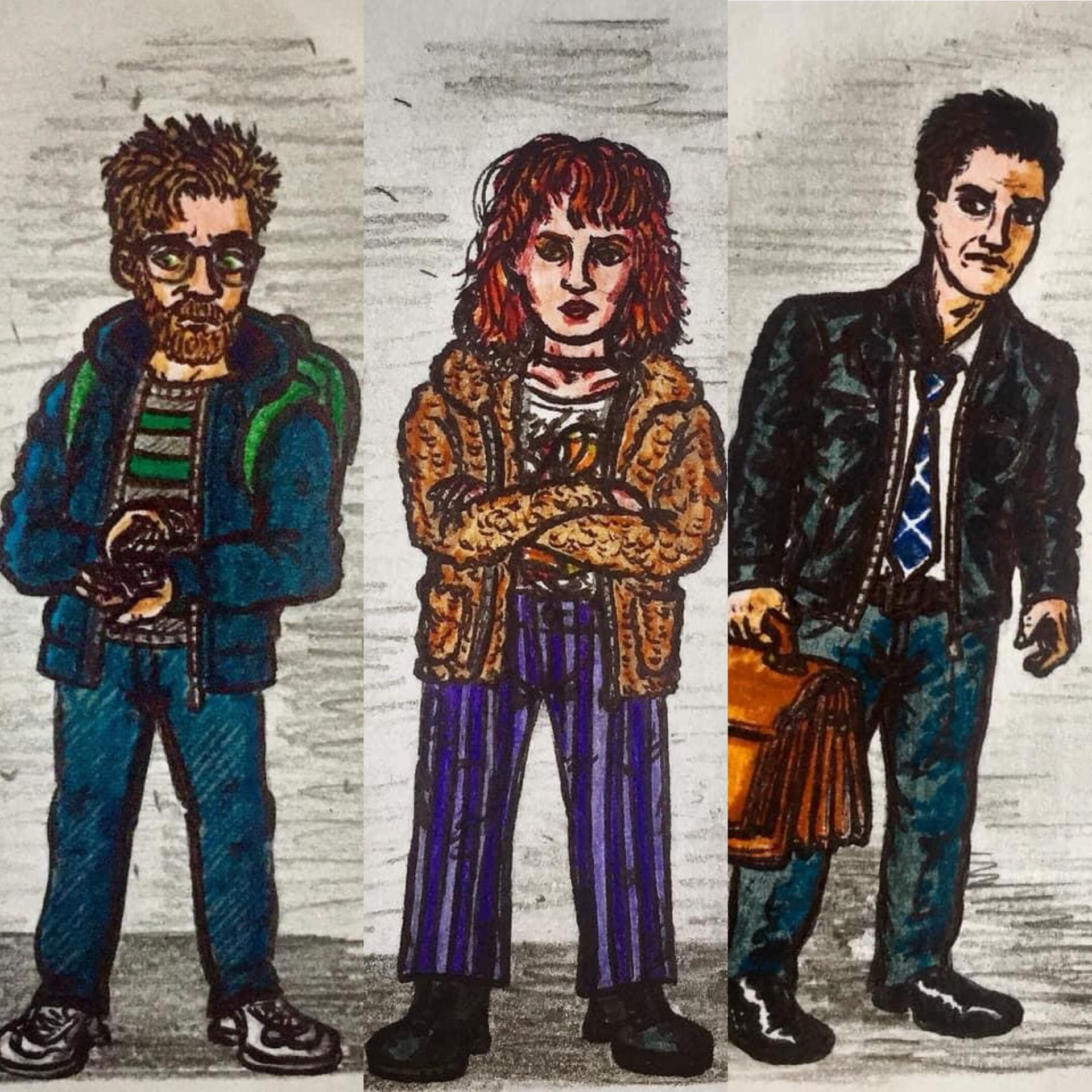 Drawings of characters; Ned, Evie & Dan. Created by James Bell.