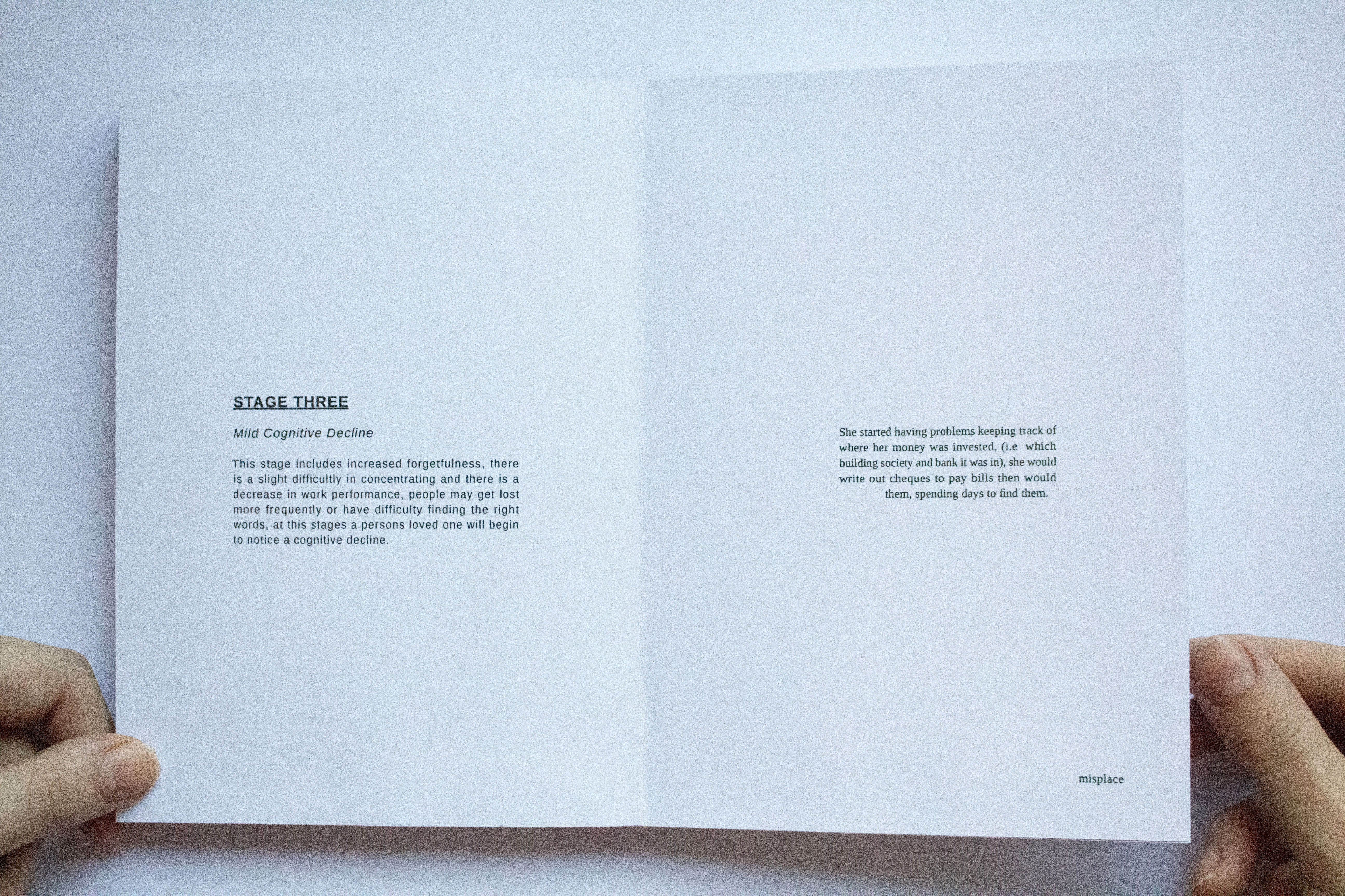 Inner page of book titled Stage 3 with small paragraphs in the middle of the page.