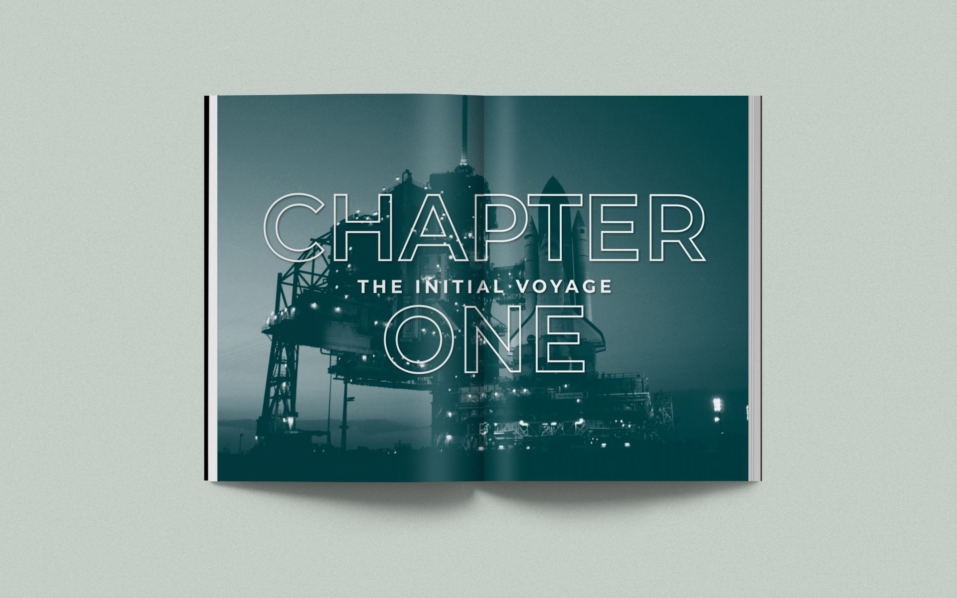 Chapter one 'The Initial Voyage' with background image of space launch.