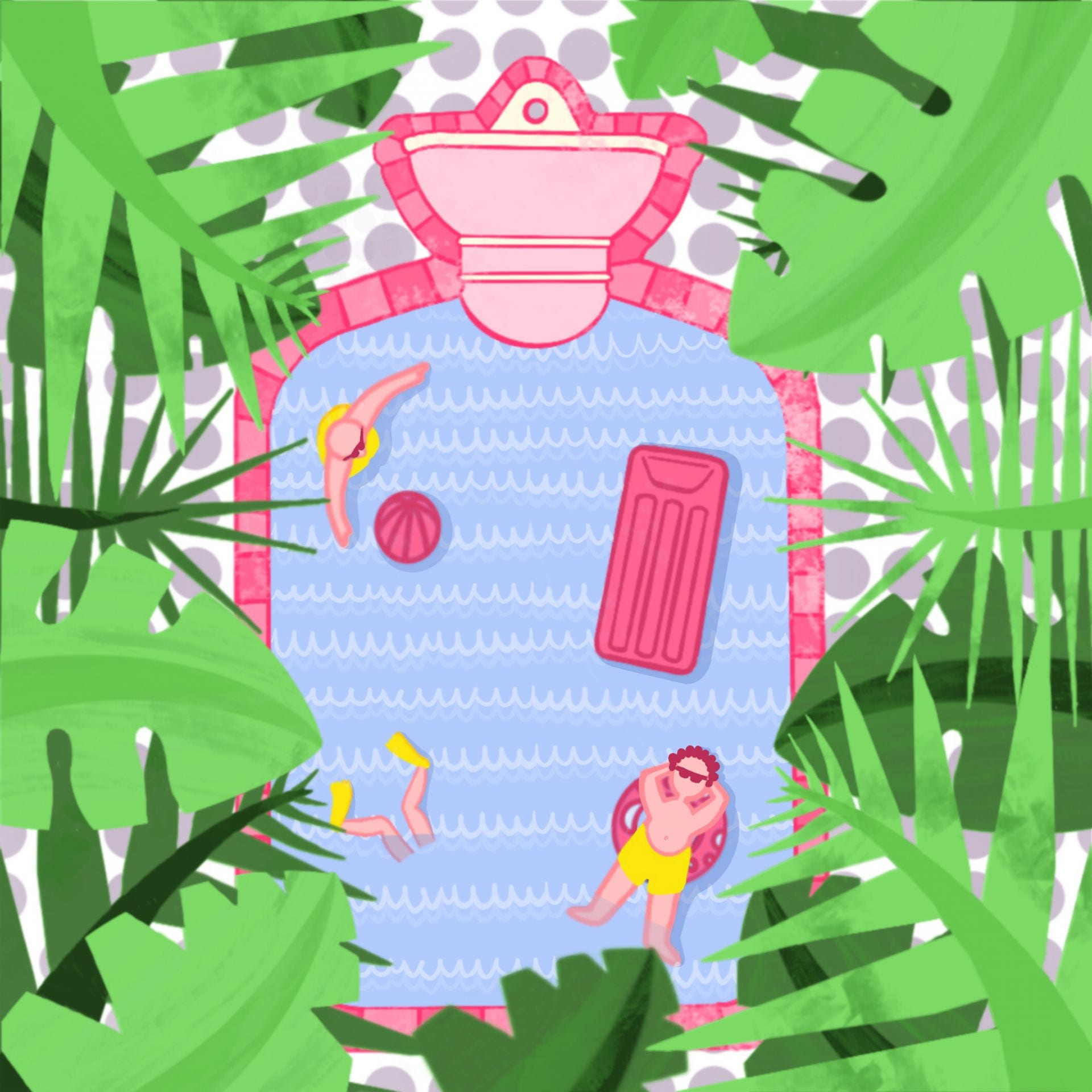 Illustration. Palm leaves border a top-down view of man wearing yellow shorts, sunbathing in pool.