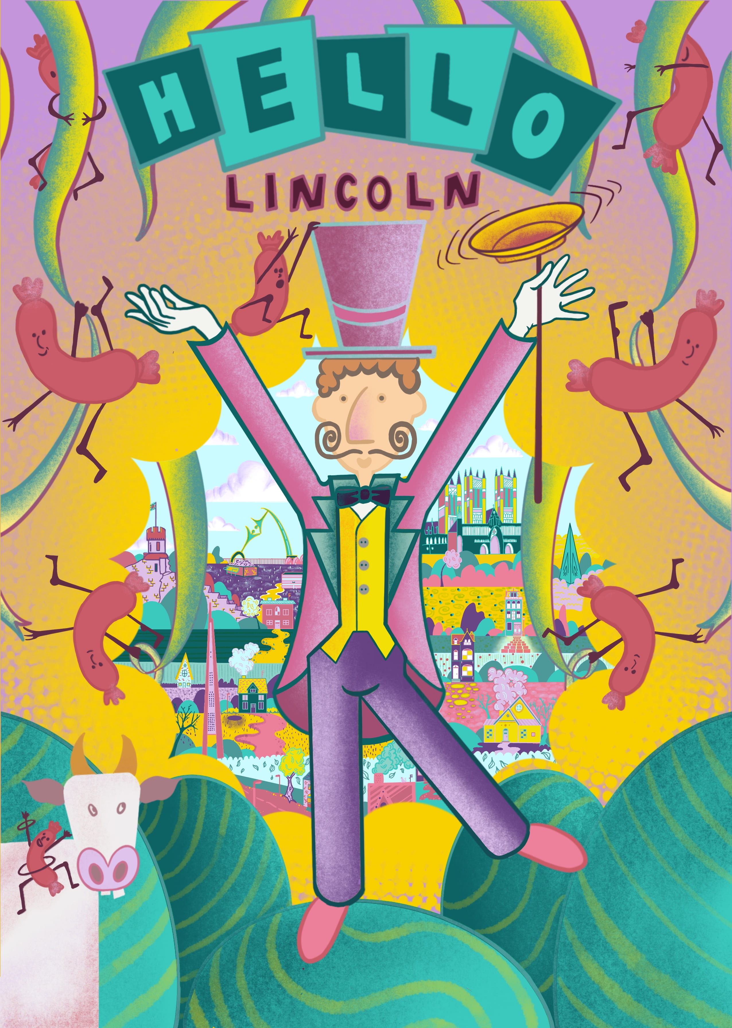 Illustration. Man in pink tail-coat and top-hat spinning a yellow plate on a stick. Title reads: Hello Lincoln.