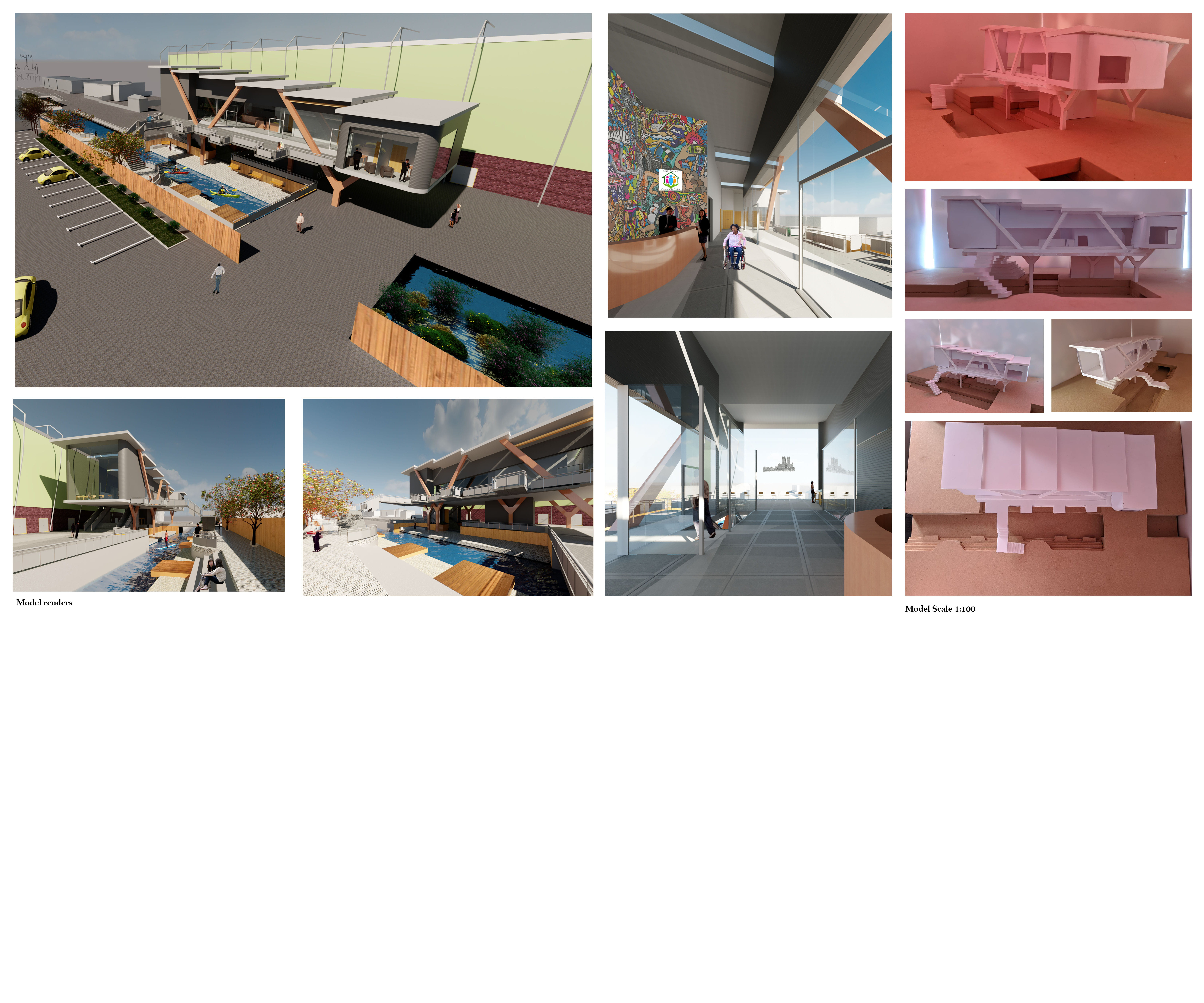 Final digital renders and 3D model of a building.