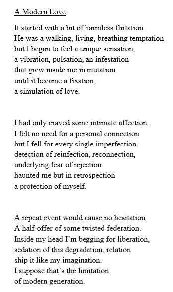 Poem entitled 'A modern love'.
