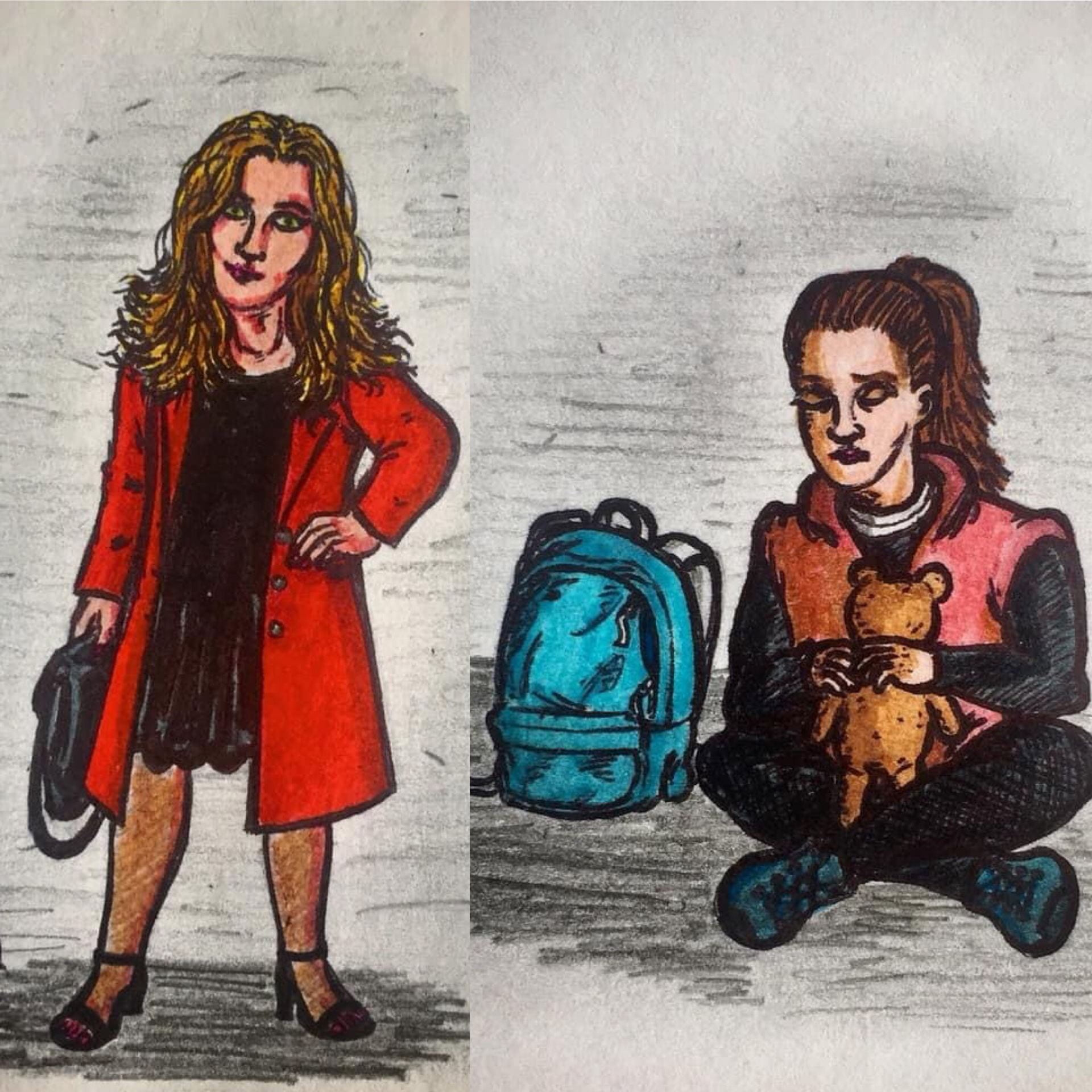 Drawings of characters; Sam & Leila. Created by James Bell.