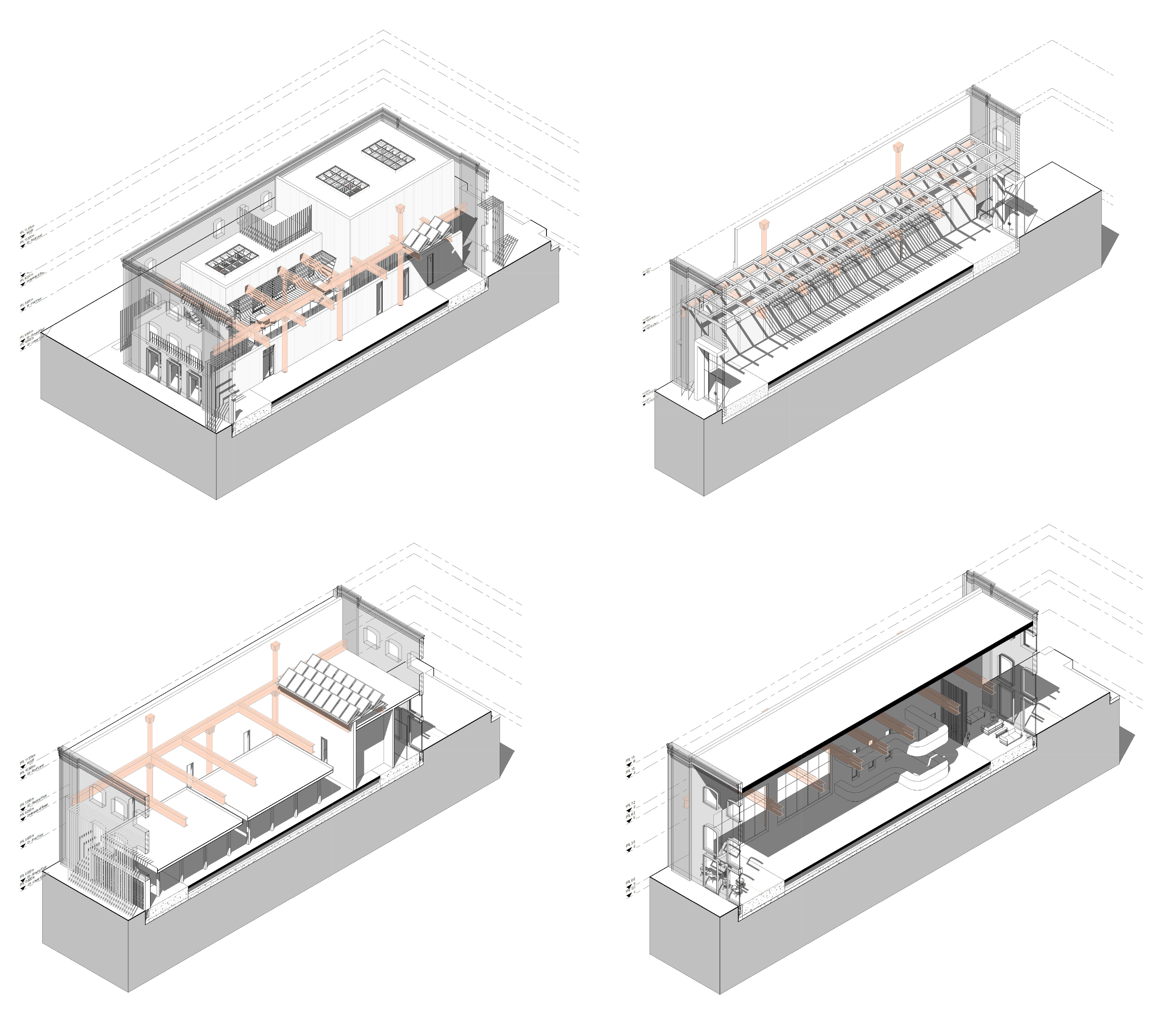 Axonometrics showing the intended design of the building