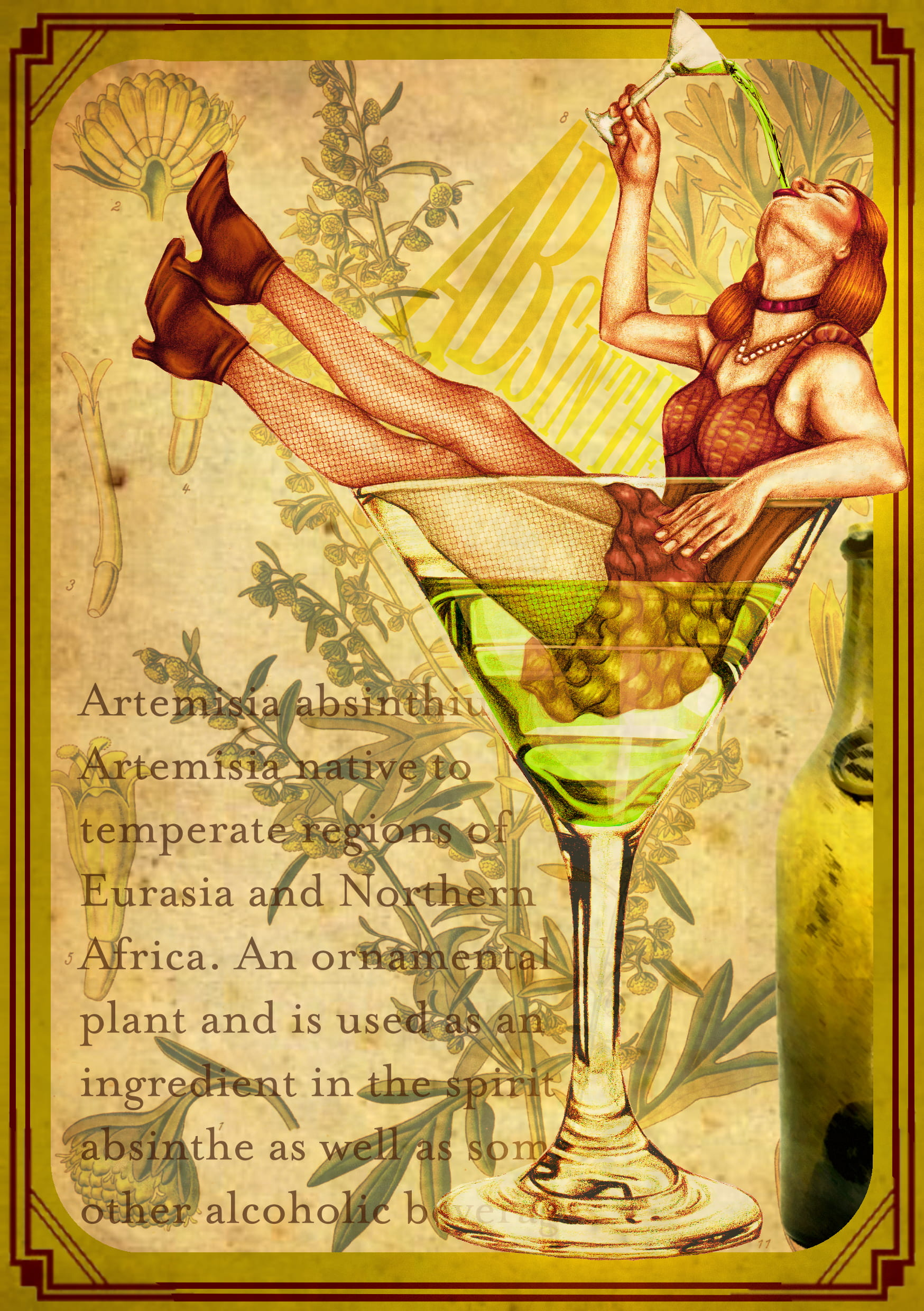 An illustration of a cabaret girl, sat in a large glass of absinthe, drinking from a small glass of absinthe.