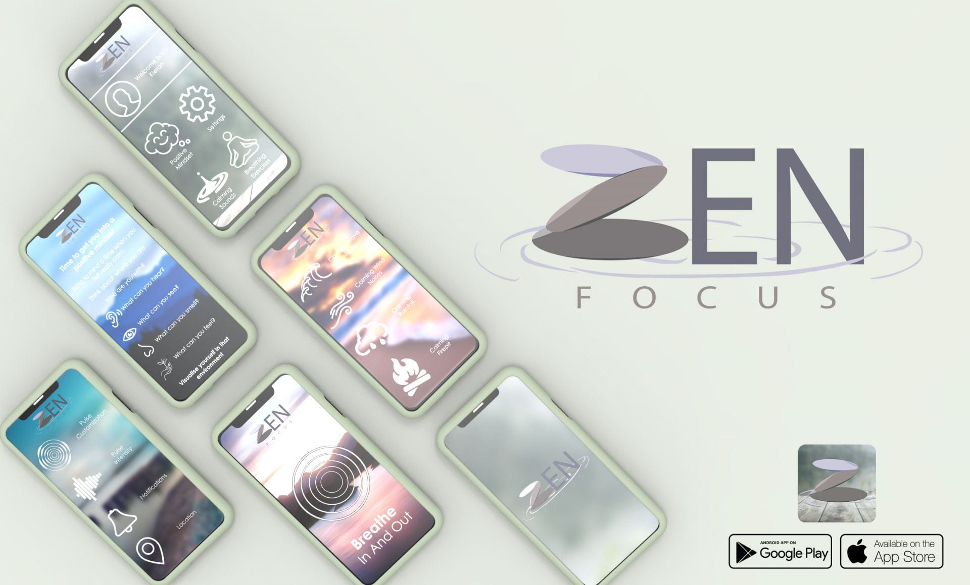 Collage showing the multiple uses of the app displayed on phone screens, alongside a logo and App store logos.