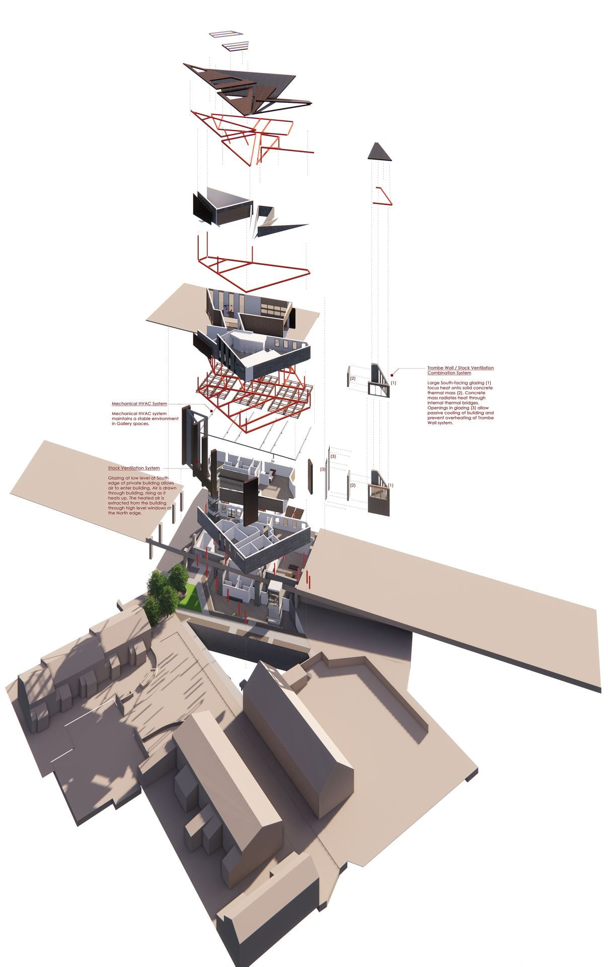 Exploded axonometric depicting how the building will be constructed