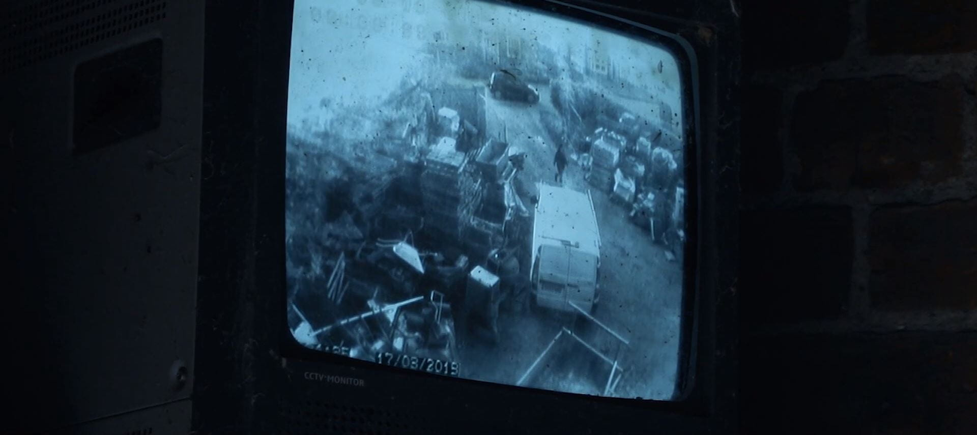 Image of a security camera TV display.