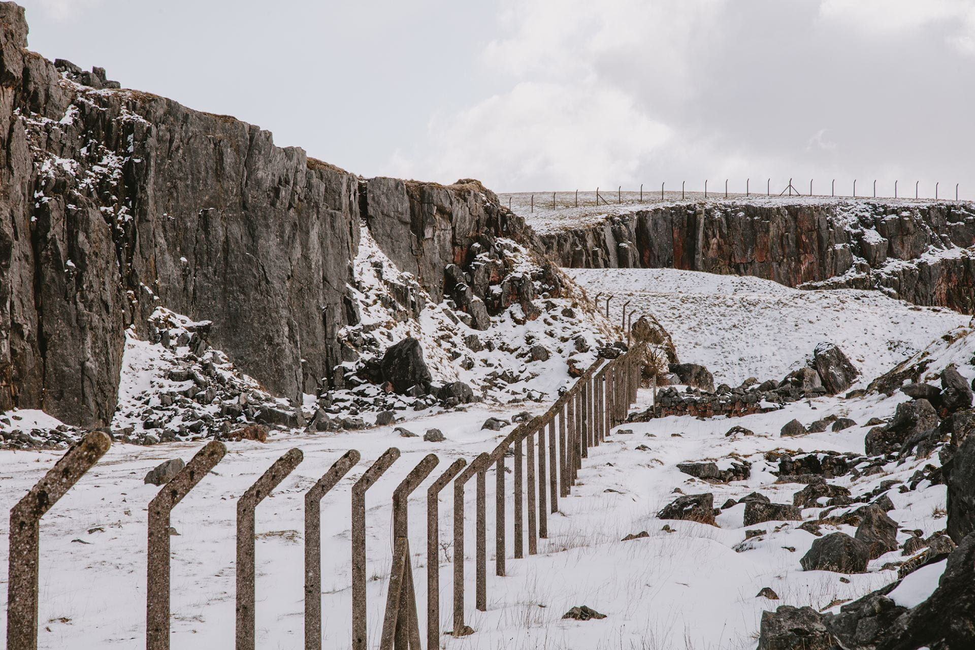 Photography of a quarry in winter.
