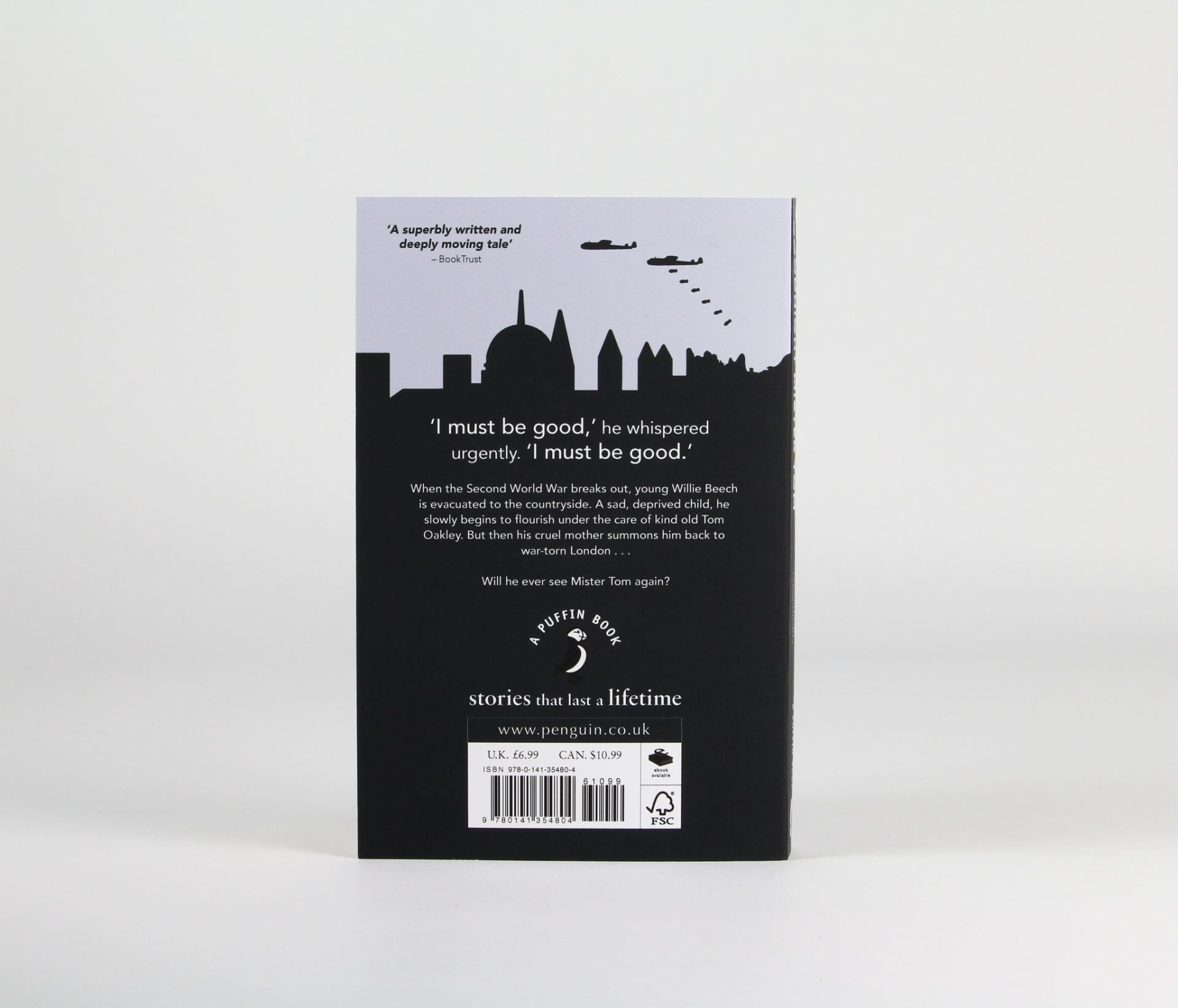 Back of book cover in navy and white featuring a silhouette of the city