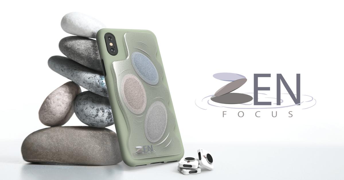 Model of the Zen Focus phone case showing it's tactile exterior, alongside a logo.