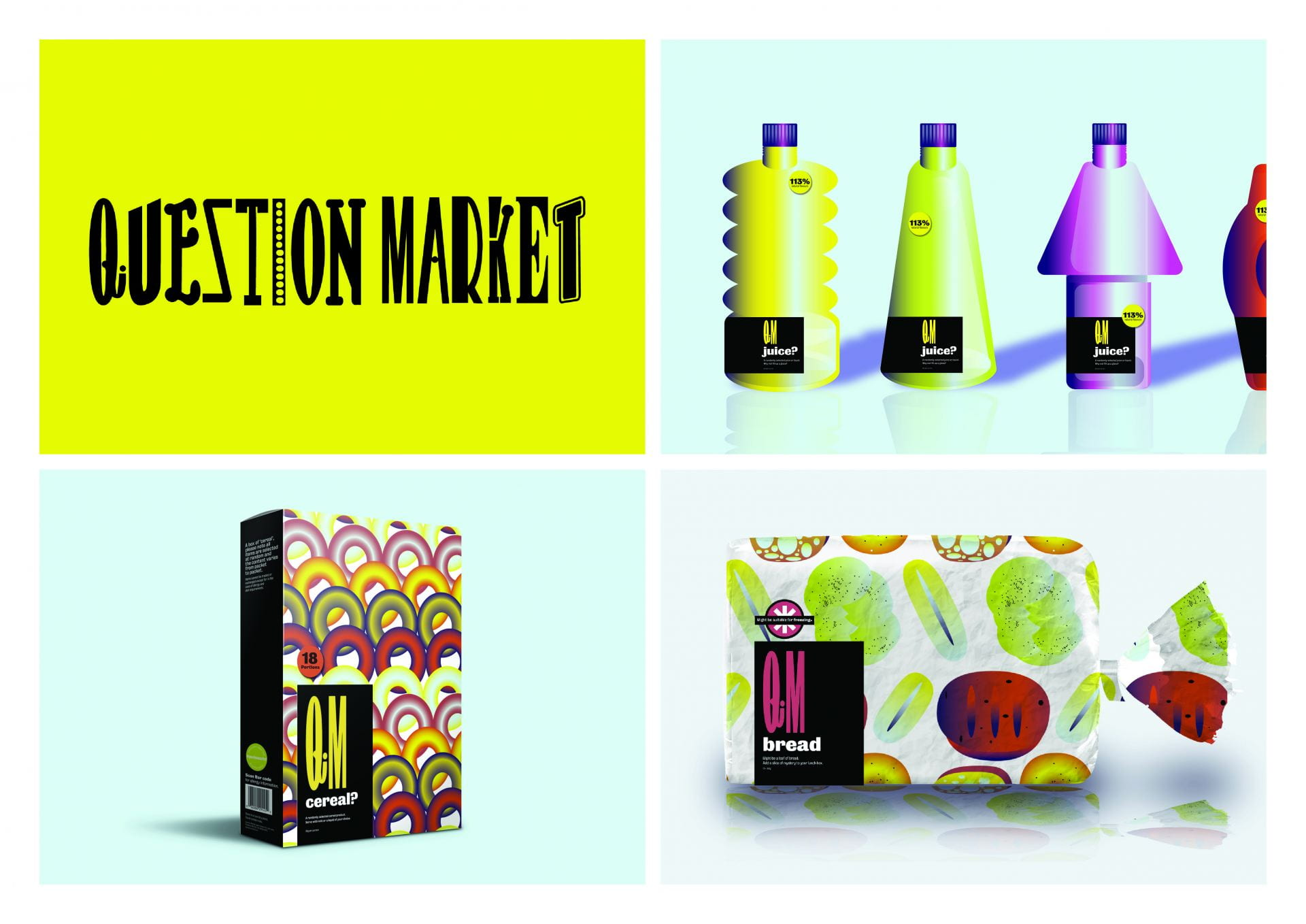 Bottles, a cereal box and a loaf of bread detailing bright patterns.